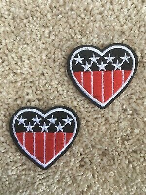"USA Heart Flag PATCHES Set Of 2 -  2"" Iron-on embroidered patch - American flag"