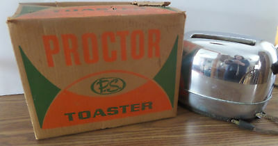 Vintage 1950s PROCTOR Dual Automatic Pop Up Toaster Model 1483 & Original Box US