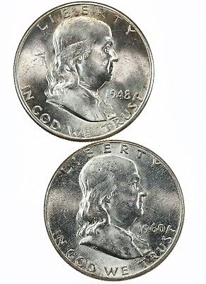 Raw 2 Pack 1948-D & 1960 Franklin 50C US Mint 90% Silver Half Dollar Coin