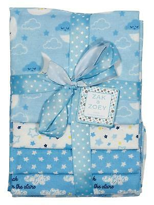 Zak and Zoey 4 Pack Receiving Baby Blankets Blue Stars & Clouds NEW!