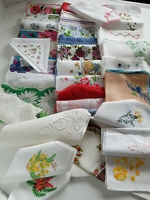 Vintage Ladies Hankies Mixed lot of 35 -  Florals Embroidered Crocheted Souvenir