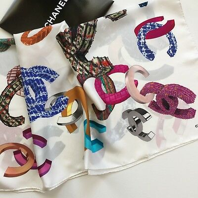 New Authentic Chanel Limited Edition Multi-Color Logos Print 100% Silk Scarf