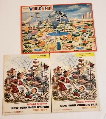 Vtg 1964-65 Official New York World's Fair Puzzle &2 Preview Books * Cool *