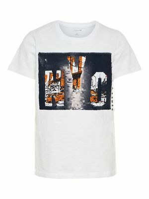 name it Kids Jungen T-Shirt, Shirt Benson mit Wendepailetten in bright white
