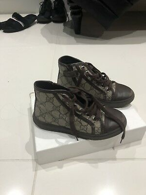 Gucci Boys Brown Logo Boots Hightop Trainers / Shoes Size 29