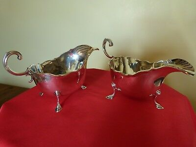 STUNNING PAIR OF ASPREY ART DECO SOLID SILVER GRAVY OR SAUCE BOATS.WEIGHTY 466g