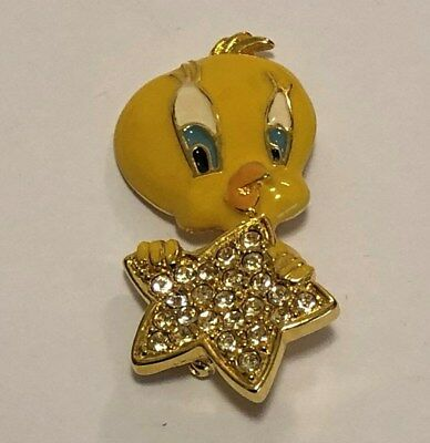 Vintage WB Looney Tunes Christmas Link Pin – Tweety Bird with Star