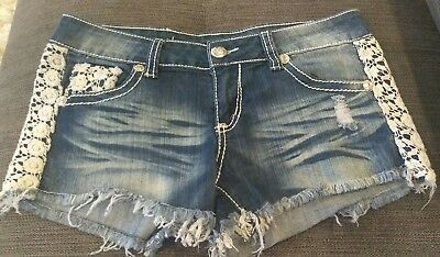 Women's Shorts, Size 5 ALMOST FAMOUS Denim Jean Lace Distressed Zip-up EUC