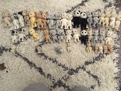 Sylvanian Families Huge Bundle Of Characters No Clothes Worn Condition