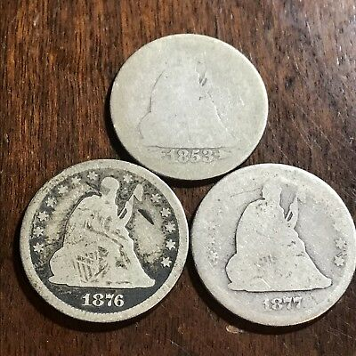 Lot of 3 Liberty Seated quarters 90% silver 25c 1853, 1876 & 1877 Old US Coins