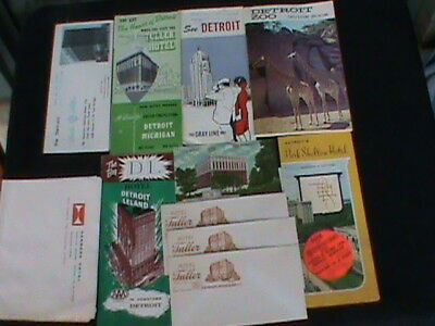 Vintage Detroit Brochures and Hotels- 5 brochures, 1guide book, 1 postcard, writ