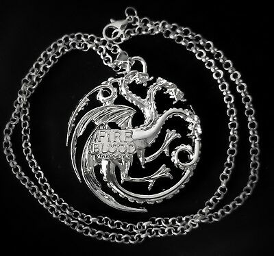 Game of Thrones 3 XL Headed Dragon Necklace Daenerys Targaryen Crest Mother Iron