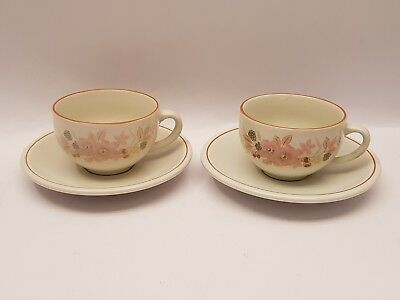 Boots HEDGE ROSE Cups and saucers x 2 Set 3