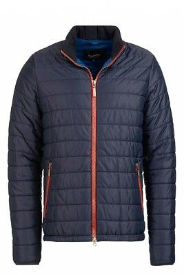 NWT Barbour Navy w/ contrasting Red Zipper SMALL 38-40 men's Poly quilted jacket