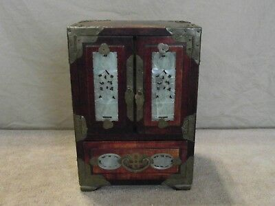 Antique Asian Wood Jewelry Box With Brass And Jade Inserts