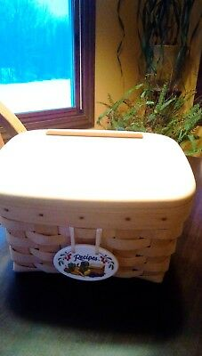 Longaberger 1999 Recipe Basket With Lid Protector, Tie -on, File Cards Box