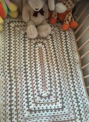 Handmade Crochet Knit Rectangular Shape Unisex Baby Blanket - Creams & Brown