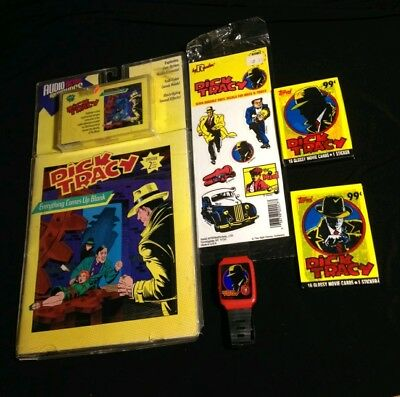 Vintage 90's DISNEY DICK TRACY Lot Comic Book Trading Cards Stickers Watch