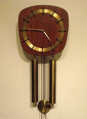 Kieninger Clock movement Vintage 1960's teak 8 day verge wall ting tang chime