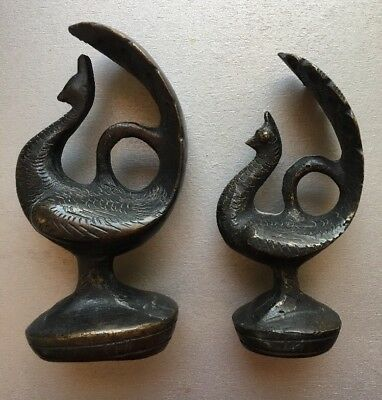 2 Old Bronze Peacock Bird Paper Or Opium Weights Decorative Approx 771g & 402.5g