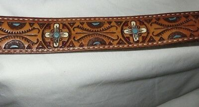 """HAND TOOLED LEATHER BELT 50""""long LARGE ARTISAN DETAIL TURQUOISE RED ROCKABILLY"""