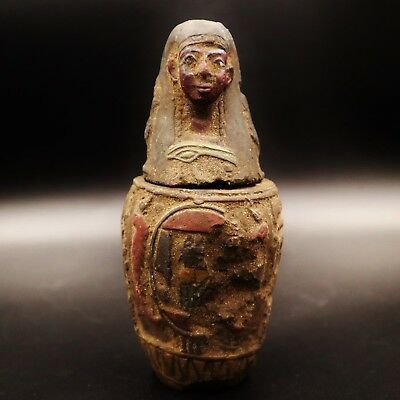 Antique Egyptian Ancient Imsety Son of Horus Canopic Jar, Organs Storage Statue
