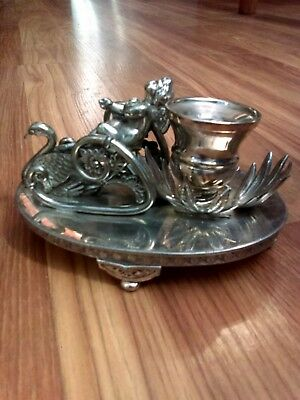 Antique Figural silverplate #537 Aurora SP Co. Candle Holder & Napkin Ring