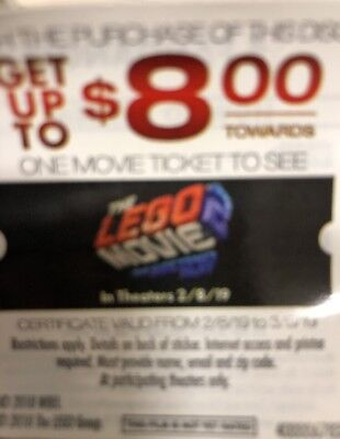 TWO $8 LEGO 2 Movie FANDANGO HOLLYWOOD E-MOVIE Money Cash $16 off 2 Tickets