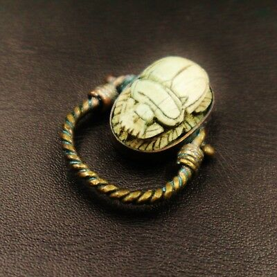 Unique Antique Copper Ring with Scarab Beetle Amulet of Ancient Egyptian