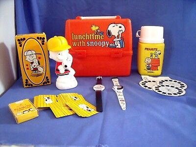 9 Vtg Charlie Brown & Snoopy Items-Lunch Box & Thermos-Watches-View Master Reels