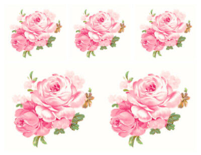Vintage Image Shabby Pink Double Cabbage Rose Transfers Waterslide Decals FL458