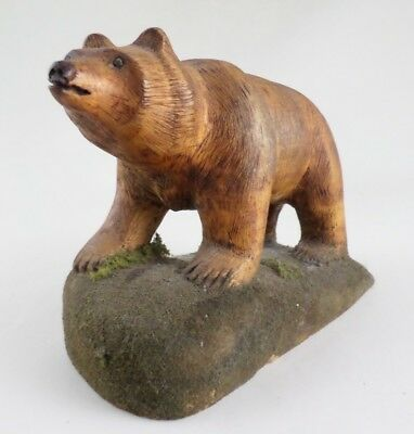 Vintage American Folk Art Grizzly Bear & Rock Carving Sculpture Bill Maahs 1988