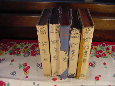 Five 1940's Nancy Drew Mystery Stories Series Books with Original Dust Jackets