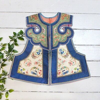 Antique China Chinese Traditional Blue Embroidered & Beaded Floral Child's Vest