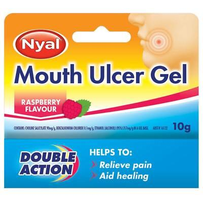 Nyal Mouth Ulcer Gel 10G Raspberry Flavour Double Action Aids Healing
