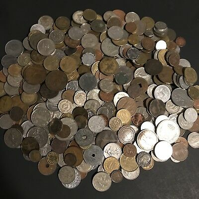 Nice Mixed Pile *3.8 Lbs.* Foreign World Coins Currency From 18 -1900s .99 Start