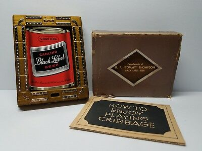 Vintage Carling Black Label Beer Can Shaped Playing Cards & Cribbage Board w/Box