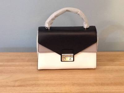 Michael Kors Sloan Medium Double Flap TH Leather Satchel Black Grey White NWT