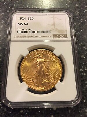 St. Gaudens 1924 Double Eagle $20 gold coin NGC MS64 in new edge-view holder
