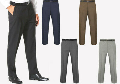 Men Trousers Office Business Work Formal Casual Smart Belted Suit Pants Big Size