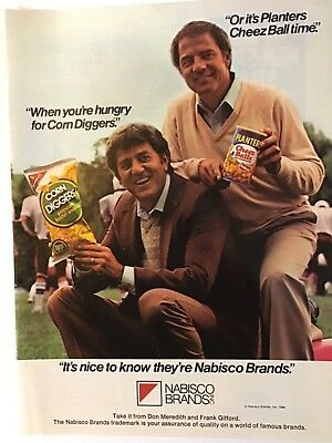 Vintage 1984 Nabisco Planters Cheez Balls Print Ad Don Meredith Frank Gifford
