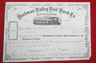 Stock - Bachman Valley RR of PA 1870's Certificate and Receipt - Hanover PA