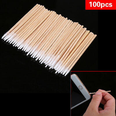 100pcs/lot Mobile Phone Headphone Hole Dust-free Cleaner Cleaning Cloth Stick