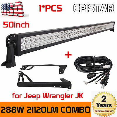 "Jeep JK Wrangler 50"" 288W LED Light Bar SUV+Windshield Mount Brackets+Harness HT"