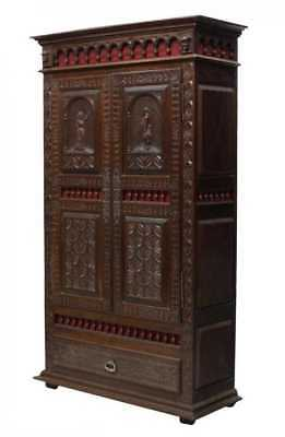 SPANISH FIGURAL CARVED PINE ARMOIRE, antique