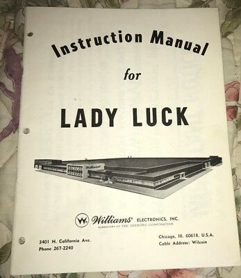 Williams 1968 Lady Luck Pinball Schematc  +  Manual Original Excellent Condition