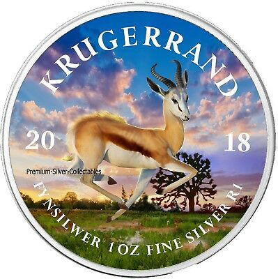 2018 South African Krugerrand - Colorized Coin Series 1 Ounce Pure Silver!!!