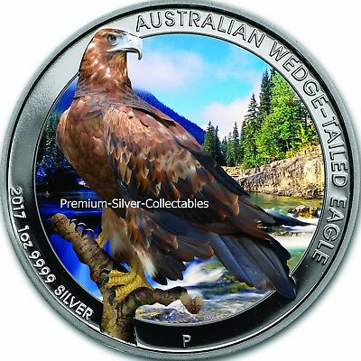 2017 Australia Silver Wedge-Tailed Eagle - 1 Ounce Pure Silver Colorized Coin!