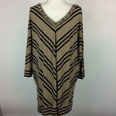 Lane Bryant Beige Black Striped V Neck Tunic Top Womens Plus Size 22/24