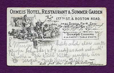 1903 Ohmeis Hotel Beer Garden Bronx (West Farms) Ny Adv Postcard Great Vignette